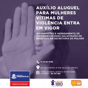 Auxílio aluguel para mulheres vítimas de violência em Teresópolis entra em vigor