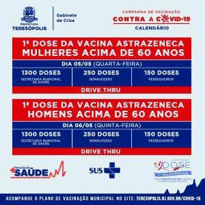Teresópolis aplica 1ª e 2ª doses da vacina contra Covid-19 até sexta-feira, 7 de maio