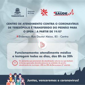 Centro de Atendimento contra o Coronavírus de Teresópolis é transferido do Pedrão para o EPEM