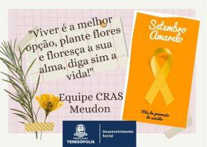Setembro Amarelo – CRAS Meudon realiza campanha de combate e prevenção ao suicídio